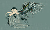 Angel sits folding his wings