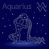 Zodiac sign Aquarius with snowflakes