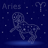Zodiac sign Aries with snowflakes