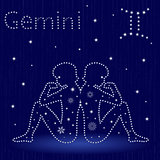 Zodiac sign Gemini with snowflakes