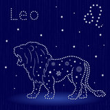 Zodiac sign Leo with snowflakes