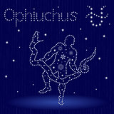 Alternative Zodiac sign Ophiuchus with snowflakes