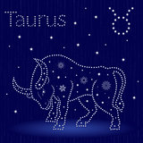 Zodiac sign Taurus with snowflakes