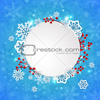 Christmas banner with white paper snowflakes