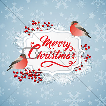 Christmas banner with two bullfinches