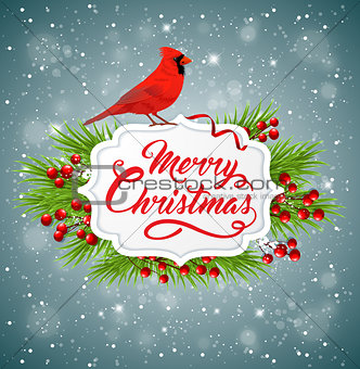 Christmas banner with red cardinal bird