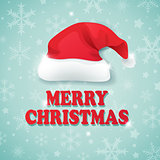 Christmas background with hat of Santa Claus.