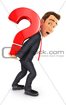 3d businessman carrying heavy question mark