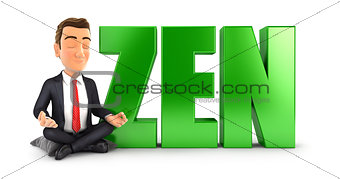 3d businessman doing meditation next to the word zen