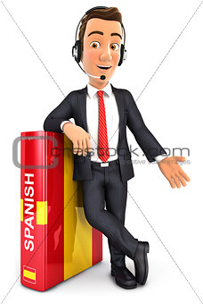 3d businessman learning spanish