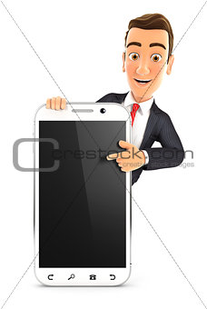 3d businessman pointing to blank smartphone