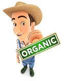 3d farmer organic stamp