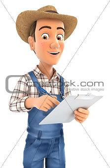 3d farmer writing on notepad