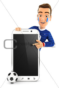 3d french soccer fan pointing to blank smartphone