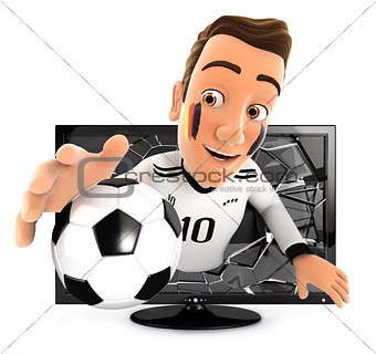 3d german soccer fan coming out of television
