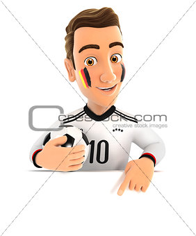 3d german soccer fan pointing to empty wall