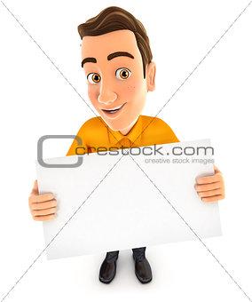 3d man holding a billboard
