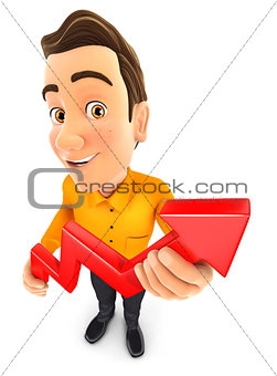 3d man holding a growing curve