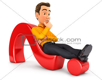 3d man lying on question mark