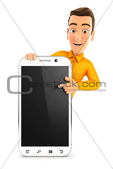 3d man pointing to blank smartphone