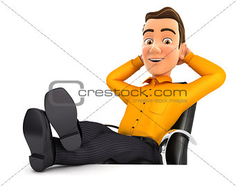 3d man relaxing with feet up on his desk