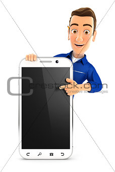 3d mechanic pointing to blank smartphone