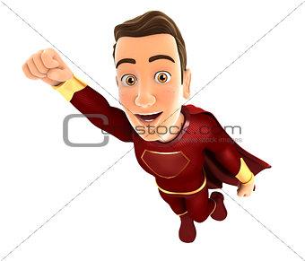 3d red hero flying