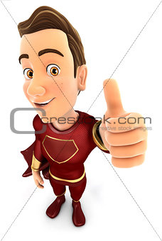 3d red hero positive pose with thumb up