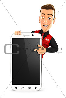 3d seller pointing to blank smartphone