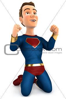 3d successful superhero on his knees