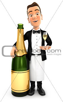3d waiter standing next to champagne bottle