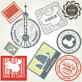 Made in China grunge rubber stamps set