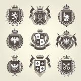 Royal blazons and coat of arms - knight heraldic emblems