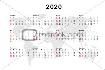 2020 Calendar for agenda with world map