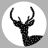 Deer stag silhouette with snowflakes