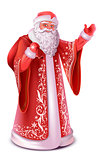 Red russian santa claus do greeting waving hand
