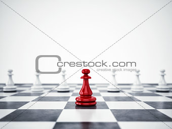 Red pawn ahead of white pawns. 3D Rendering