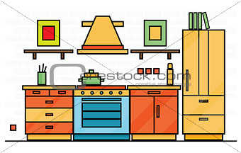 Kitchen Interior with Table, Stove and Fridge.