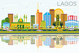 Lagos Skyline with Color Buildings, Blue Sky and Reflections.
