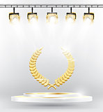 Gold Laurel Wreath on Podium with Spotlights.