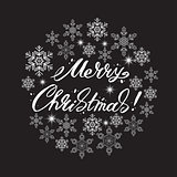 Merry Christmas lettering surrounded by snowflakes. Vector illustration