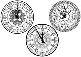 Clock Faces with Ornamental Decoration