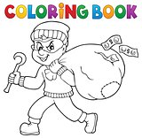 Coloring book thief with bag of money