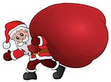 Santa Claus with big gift bag theme 1