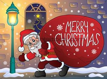Santa Claus with big gift bag theme 3