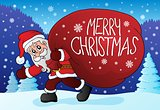 Santa Claus with big gift bag theme 4