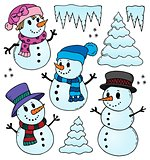 Stylized snowmen theme drawings 1