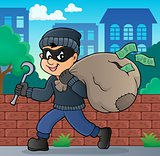 Thief with bag of money theme 2