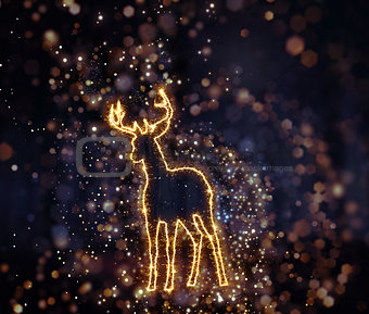 3D Christmas background with sparkly deer outline