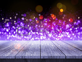 3D wooden table against Christmas background of bokeh lights and